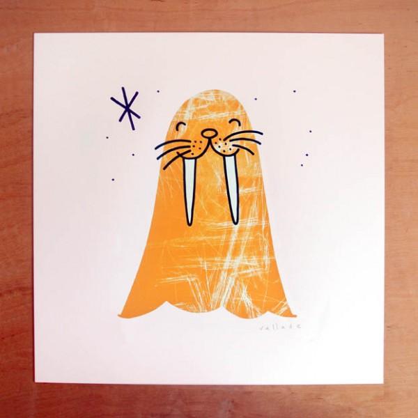 walrus print - orange